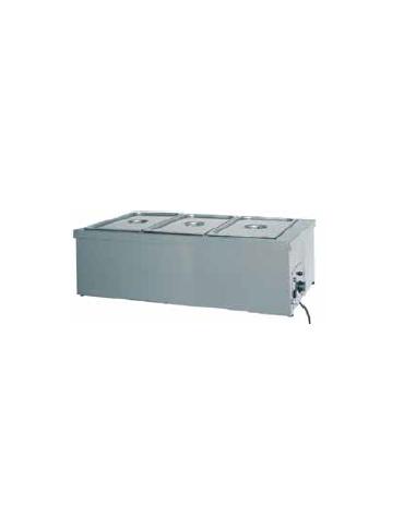 Tavola calda da banco inox con resistenza a secco - capacità 3x 1/1 GN cm 110x60x32h