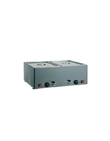 Tavola calda da banco inox bagnomaria - capacità 2x 1/1 GN cm 66x54x22h
