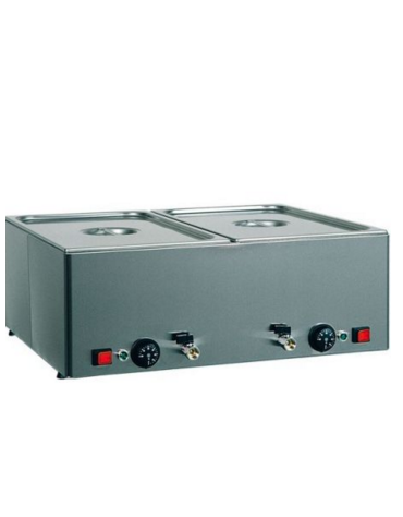 Tavola calda da banco inox bagnomaria - capacità 3x 1/1 GN cm 99x54x22h