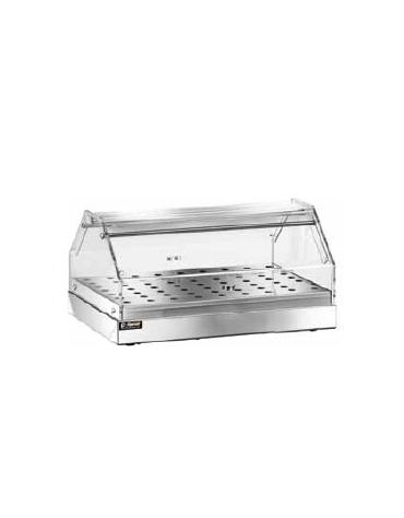 Vetrina in plexiglass 1 piano neutra inox con piano forato cm 50x35x22h