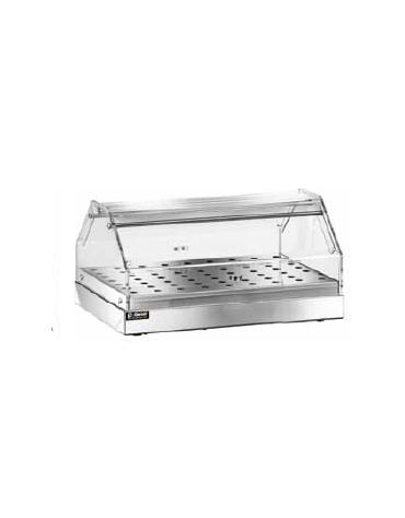 Vetrina in plexiglass 1 piano neutra inox con piano forato cm 85x35x22h