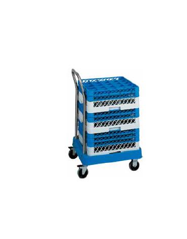 Carrello vasca porta cestelli in ABS con manico per conduzione cm 53x56x92h