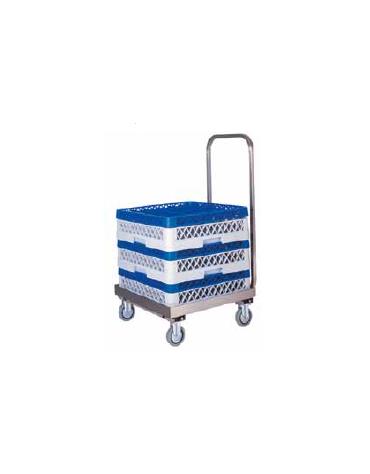 Carrello vasca portacestelli inox con manico, senza Manico per conduzione cm 52x52x20h