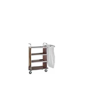 Carrello portabiancheria in acciaio inox, ripiani in laminato colore wengè cm 110/143x50x123h