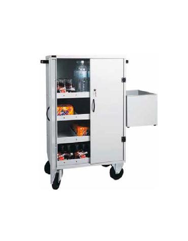 Carrello per il rifornimento di frigo-bar in lamiera, tre piani intermedi. vaschetta raccogli vuoti cm 80x50x118h
