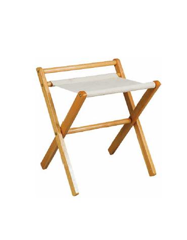 Reggi valigie in legno e cotone colore faggio con sponda. Cm 50x46x58h