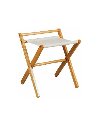 Reggi valigie in legno e cotone colore noce con sponda. Cm 50x46x58h