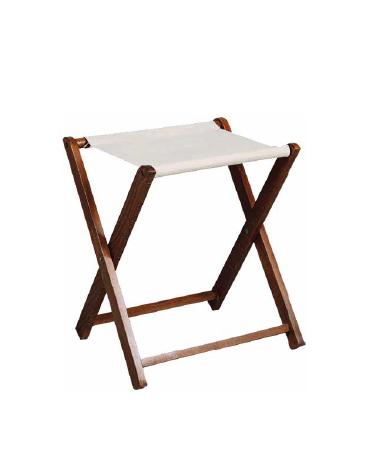 Reggi valigie in legno e cotone colore noce. Senza sponda cm 50x41x58h