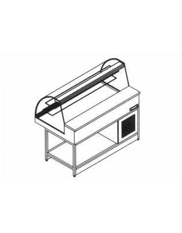 Vetrina fredda ventilata vetri curvi da cm. 150