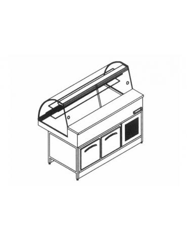 Vetrina fredda statica vetri curvi con cella da cm. 150