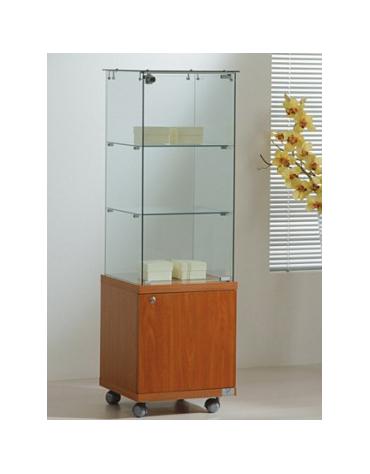Vetrina cristalli temperati con mobiletto - profondità vetrina cm 40 - senza luci - cm 40x40x130h