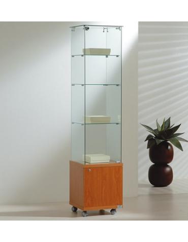 Vetrina cristalli temperati con mobiletto - profondità cm 40 - senza luci cm 40 x 40 x 180h
