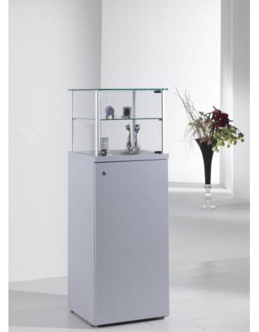 Vetrina con montanti in alluminio e mobile h 90 cm con anta e serratura cm 45 x 45 x 135h