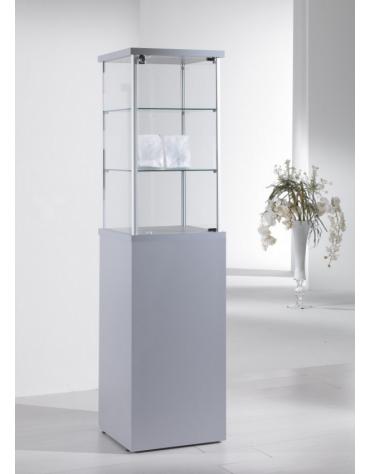 Vetrina con montanti in alluminio e mobile h 90 cm senza anta cm 45 x 45 x 175h