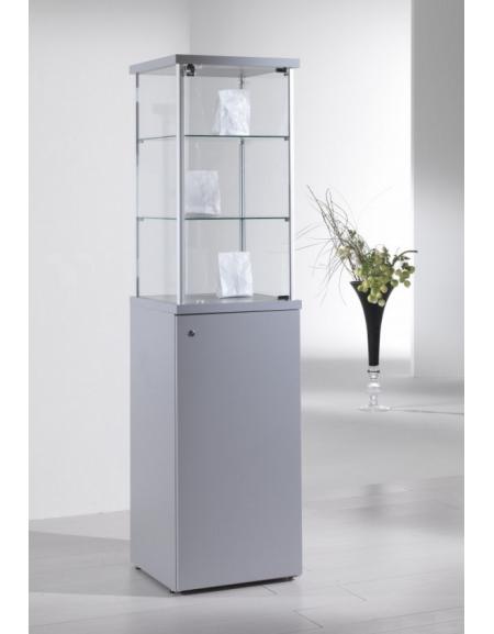 Vetrina con montanti in alluminio e mobile h 90 cm con anta e serratura cm 45 x 45 x 175h - Mobile con serratura ...