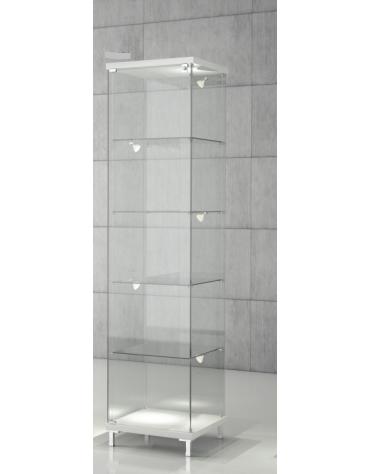 Vetrina con ripiani regolabili e 5 LED laterali – cristalli temperati Vetrina con luci cm 45 x 45 x 190h
