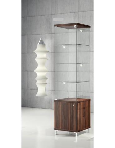 Vetrina con ripiani regolabili, 4 LED laterali e mobile – cristalli temperati Vetrina con luci cm 45 x 45 x 190h