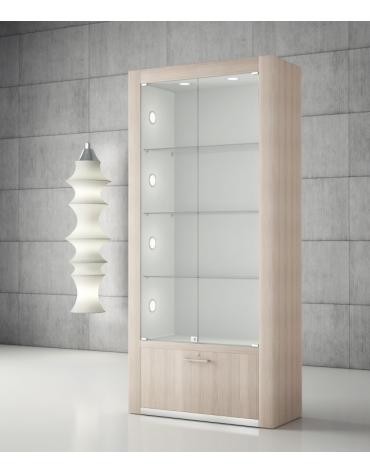 Vetrina con spalle in legno e 10 faretti LED – VETRINA SPEDITA MONTATA cm 80 x 40 x 196h
