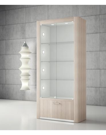 Vetrina bifacciale con spalle in legno e 10 faretti LED – Vetrina con luci cm 80 x 40 x 196h