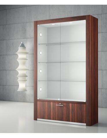 Vetrina bifacciale con spalle in legno e 10 faretti LED – cm 120 x 40 x 196h