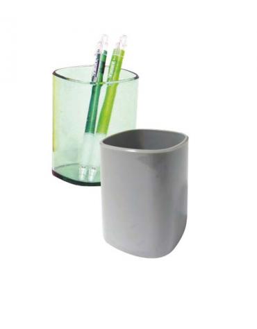 PORTA PENNE IN PLASTICA  vari colori opachi o trasparenti: cm 6,5 x 6,5 x 9,5 h.