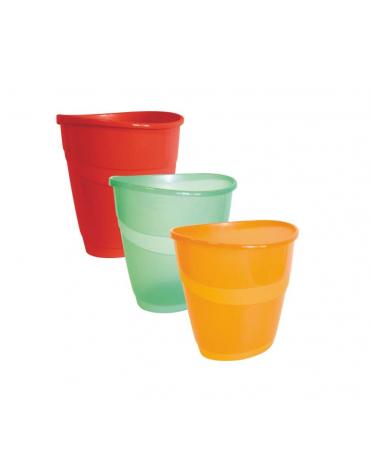 CESTINI IN PLASTICA  colori opachi: rosso - nero  colori trasparenti: verde - arancio  cm. 23,5 x 25 x 34 h.