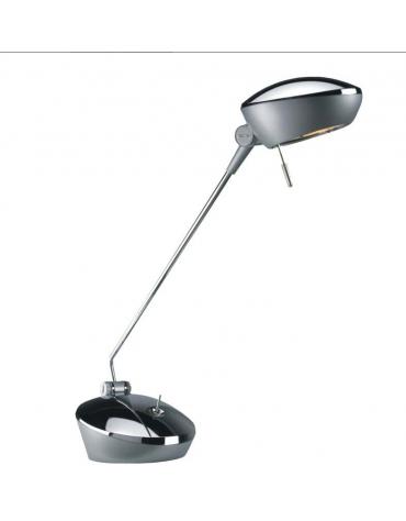 Lampada da tavolo in materiale plastico cromato. Completo di  lampada alogena 12v 50w e vetro di protezione.