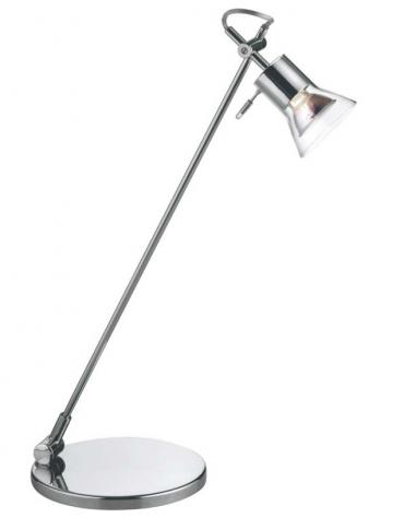 Lampada da tavolo in metallo cromato con diffusore in vetro.  Completa di lampadina alogena 230v 50w e vetro di  protezione.