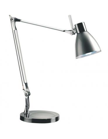 Lampada da tavolo in metallo colore alluminio. Completa di  lampada a fluorescenza a basso consumo 230V - 15W.