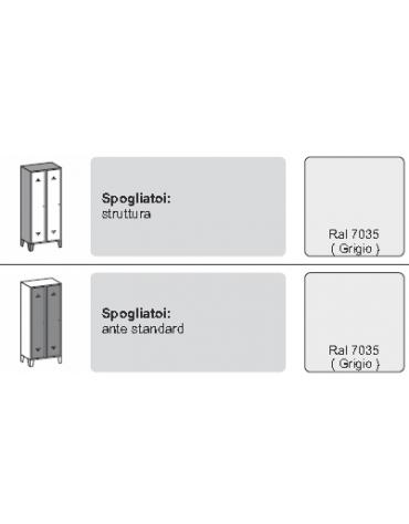 ARMADIO SPOGLIATOIO SPORCO / PULITO 2 POSTI - ante grigio cm. 100 x 50 x 180 h.
