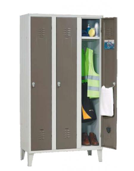 armadio spogliatoio 3 posti con ante colorate cm. 105 x 35 x 180 h