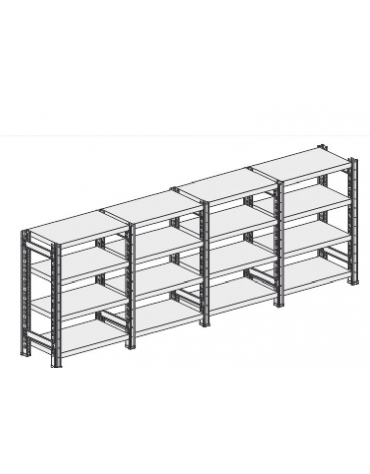 Scaffale metallico in acciaio 4 ripiani cm 80x30x200h - Montaggio a gancio