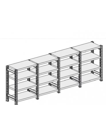 Scaffale metallico in acciaio 4 ripiani cm 90x30x200h - Montaggio a gancio