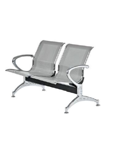 Panca da attesa - 2 Posti  - colore alluminio - cm 123x68x80h