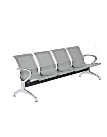 Panca da attesa - 4 Posti - colore alluminio - cm 238x68x80h