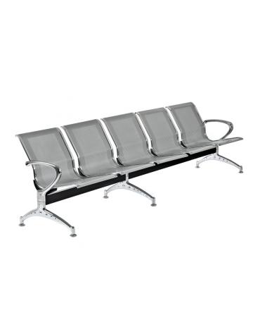 Panca da attesa - 5 Posti - colore alluminio - cm 295.5x68x80h