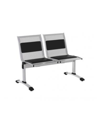 Panca da attesa - 2 Posti - colore alluminio o nero - cm 110x62x83h