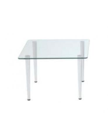 Tavolo d'attesa quadrato con piano in vetro trasparente cm 50x50x34h
