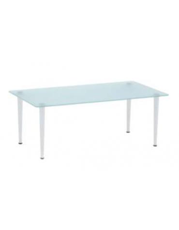 Tavolo d'attesa rettangolare con piano in vetro trasparente cm 50x90x34h