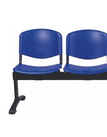 Panca di attesa 2 posti sedile e schienale in plastica ignifuga - cm 104x57x87h