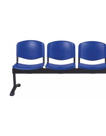 Panca di attesa 3 posti sedile e schienale in plastica ignifuga - cm 153x57x87h