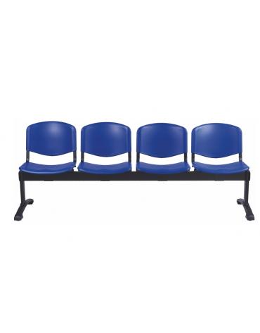 Panca di attesa 4 posti sedile e schienale in plastica ignifuga - cm 200x57x87h