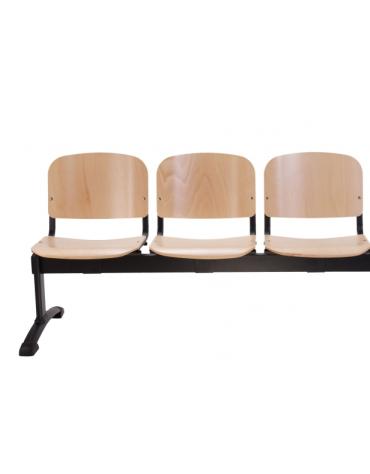 Panca da attesa - 3 Posti - in faggio verniciato - struttura in acciaio - cm 153x57x87h