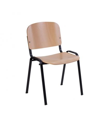 Sedia fissa attesa con schienale e sedile in faggio verniciato telaio in acciaio nero cm 54x55x77h