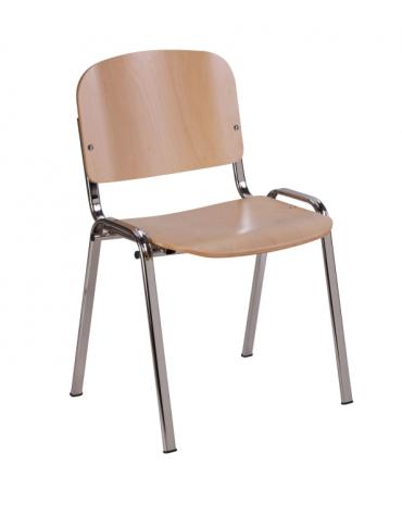 Sedia fissa attesa con schienale e sedile in faggio verniciato con telaio cromato cm 54x55x77h