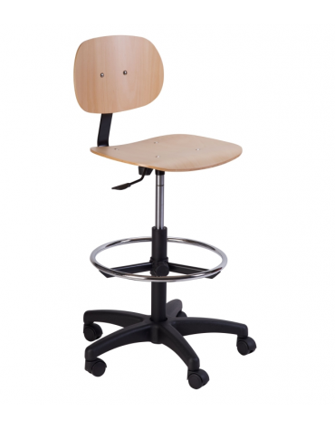 Sgabello con sedile e schienale color faggio cm 61x65x73/113h