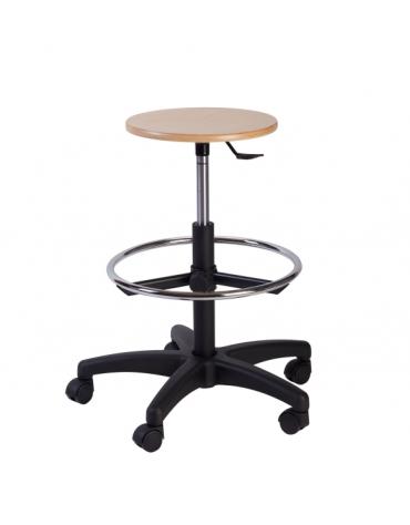 Sgabello con sedile tondo color faggio cm 61x61x73/85h