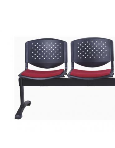 Panca da attesa 2 Posti - Struttura in acciaio - schienali forati - sedili con imbottitura - cm 102x61x75h