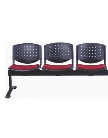 Panca da attesa 3 Posti - Struttura in acciaio - schienali forati - sedili con imbottitura - cm 152x61x75h