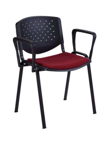 Sedia da attesa con braccioli - Struttura in acciaio - schienale forato - sedile con imbottitura - cm 64x59x77h